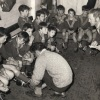 Frank Tilley addresses the team before the start of the 1970 under 10 Grand Final.