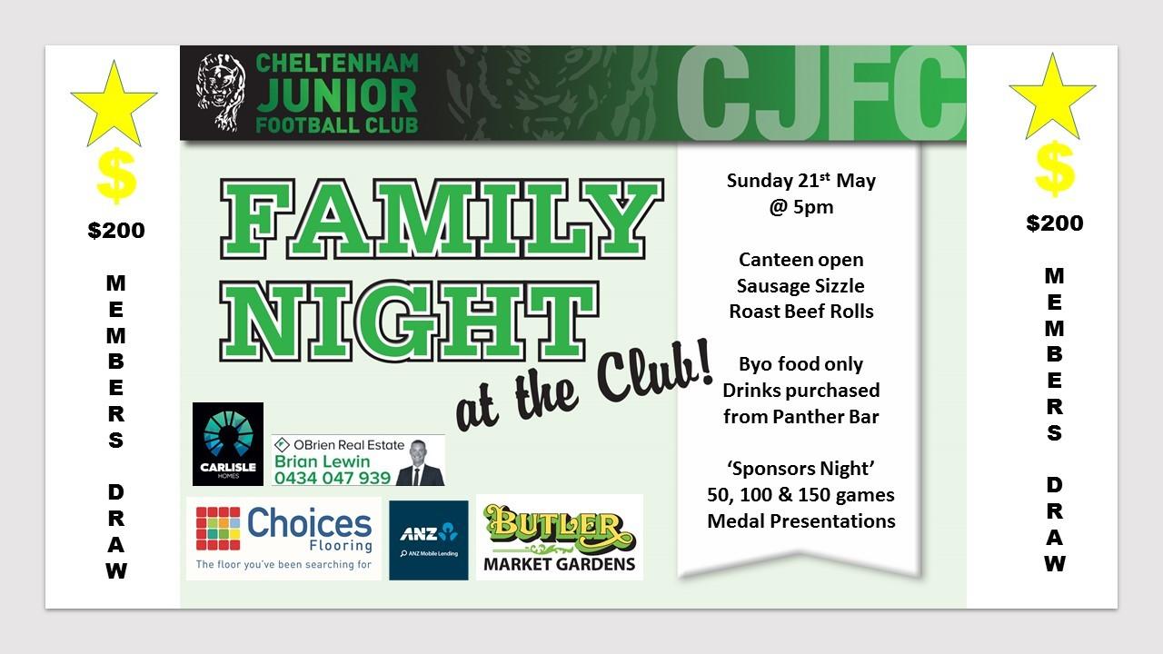 Family Night Sunday 21st May