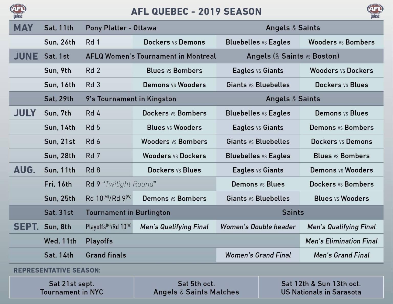 2019 season Calendar